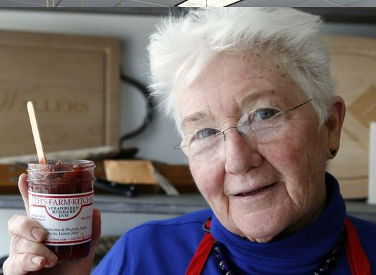 Beth Linskey of Beth's Farm Kitchen in Stuyvesant Falls holds her most popular jam, strawberry-rhubarb jam, during the Meet the Makers event at Domestic Dry Goods Company, where everything is made in America in Rye Brook. (Photo: Tania Savayan/The Journal News)